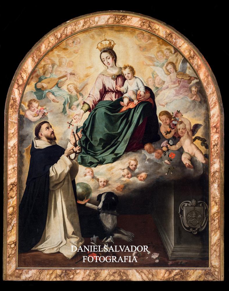 La Virgen entregando el Rosario a Santo Domingo. Bartolomé Esteban Murillo