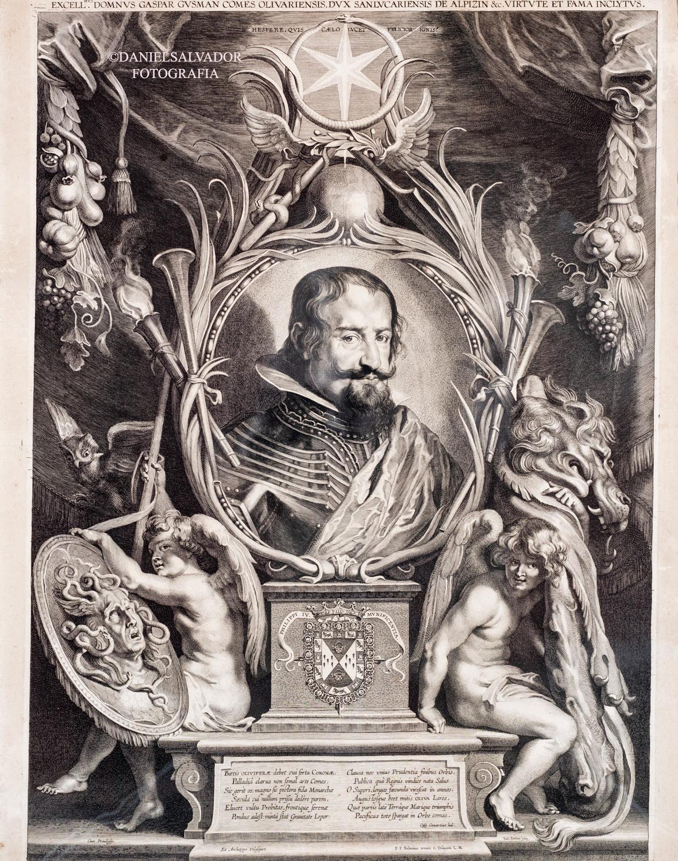 El conde duque de Olivares, don Gaspar de Guzmán y Pimentel. Pieter Paul Rubens y Paulus Pontius. Colección particular de D. Manuel Morales y Fernández de Xódar.