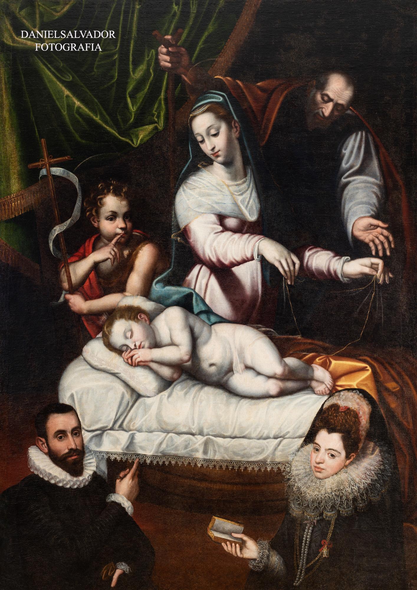 Virgen del Silencio con donantes. Anónimo.Sevilla. Colección particular