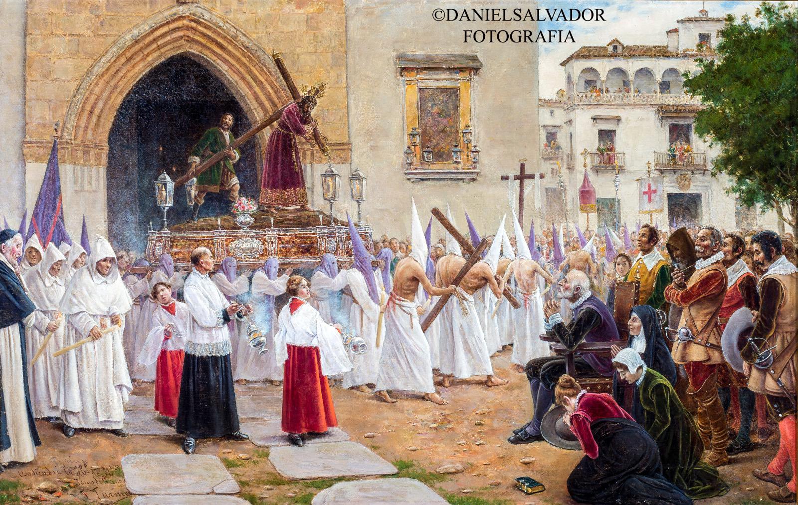 Martínez Montañés contemplando la salida de Jesús de la Pasión. Joaquín Turina y Areal
