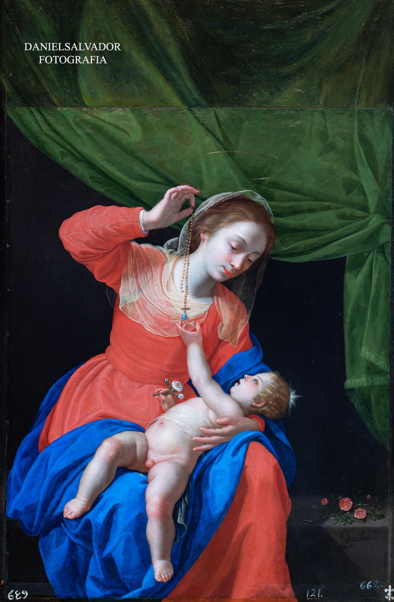Virgen del Rosario. Artemisia Gentileschi. Palacio de la Granja de San Ildefonso
